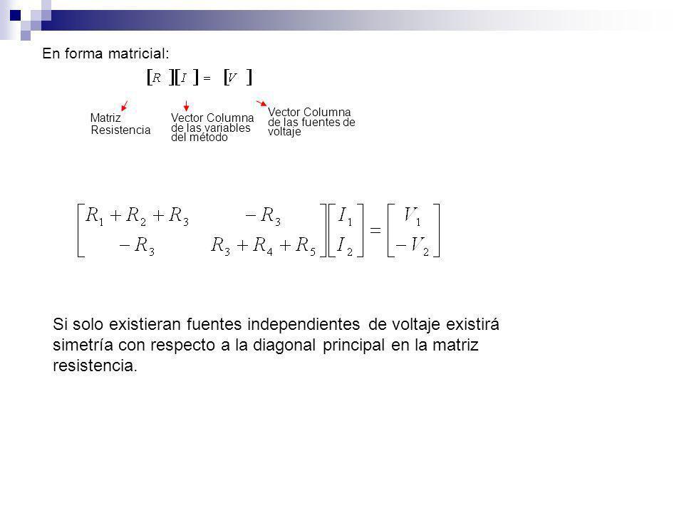 En forma matricial: Matriz Resistencia Vector Columna de las variables del método Vector Columna de las fuentes de voltaje Si solo existieran fuentes