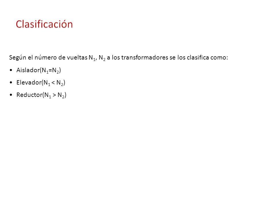 Según el número de vueltas N 1, N 2 a los transformadores se los clasifica como: Aislador(N 1 =N 2 ) Elevador(N 1 < N 2 ) Reductor(N 1 > N 2 )
