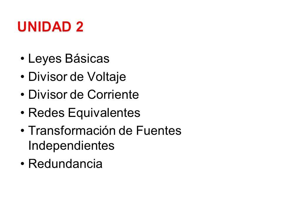 Leyes Básicas Divisor de Voltaje Divisor de Corriente Redes Equivalentes Transformación de Fuentes Independientes Redundancia