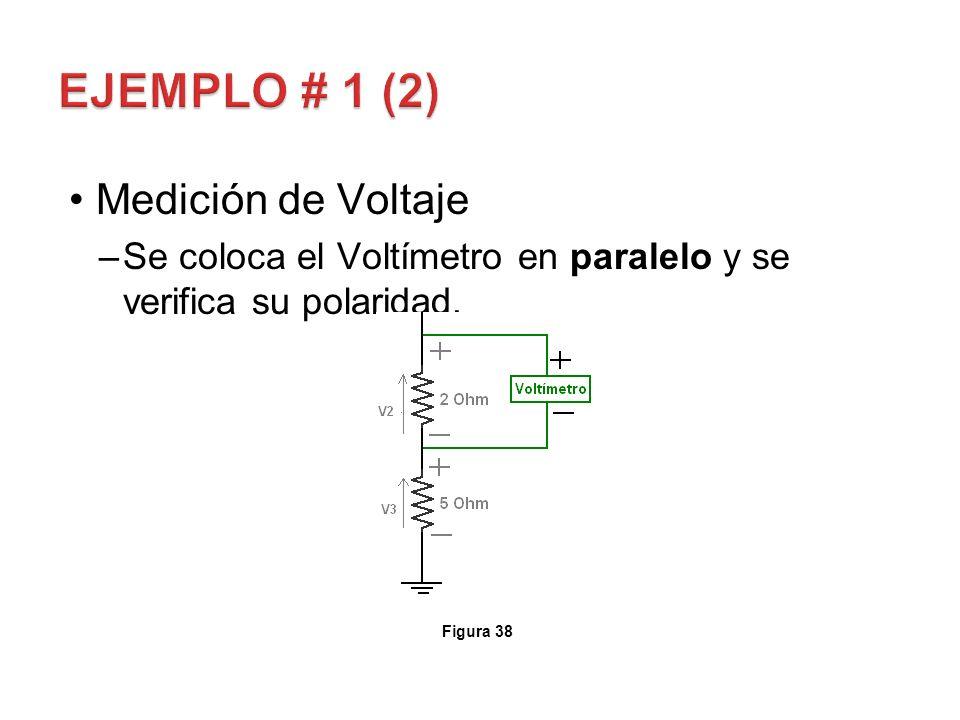 Medición de Voltaje –Se coloca el Voltímetro en paralelo y se verifica su polaridad. Figura 38