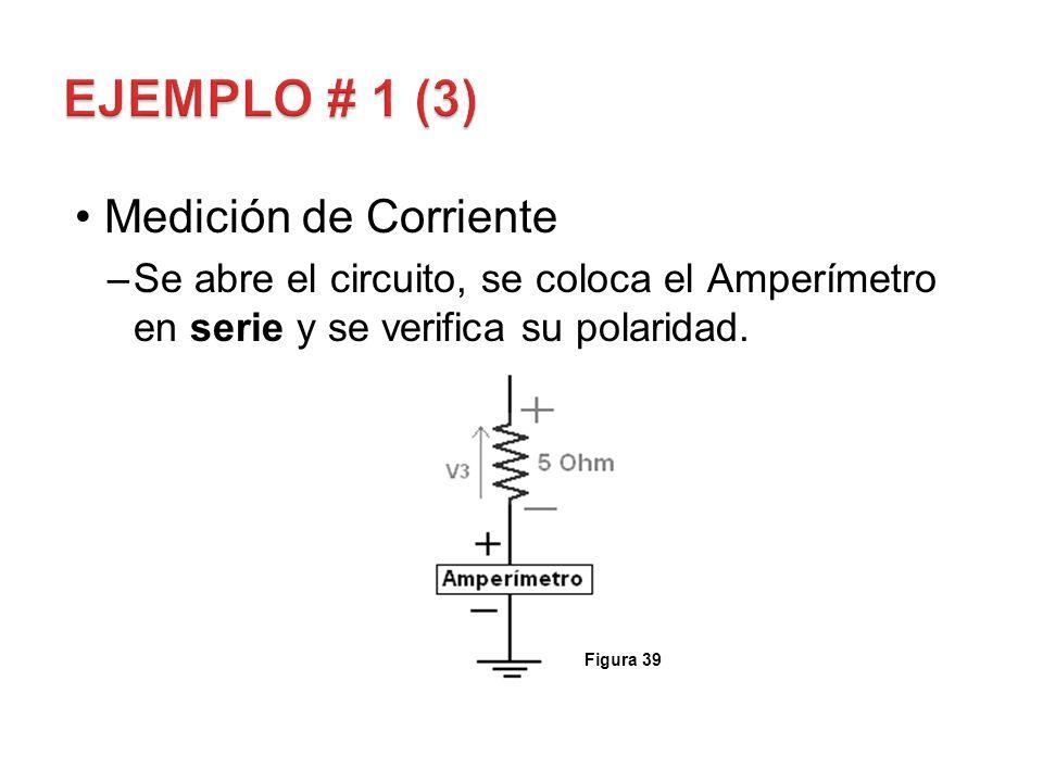 Medición de Corriente –Se abre el circuito, se coloca el Amperímetro en serie y se verifica su polaridad. Figura 39
