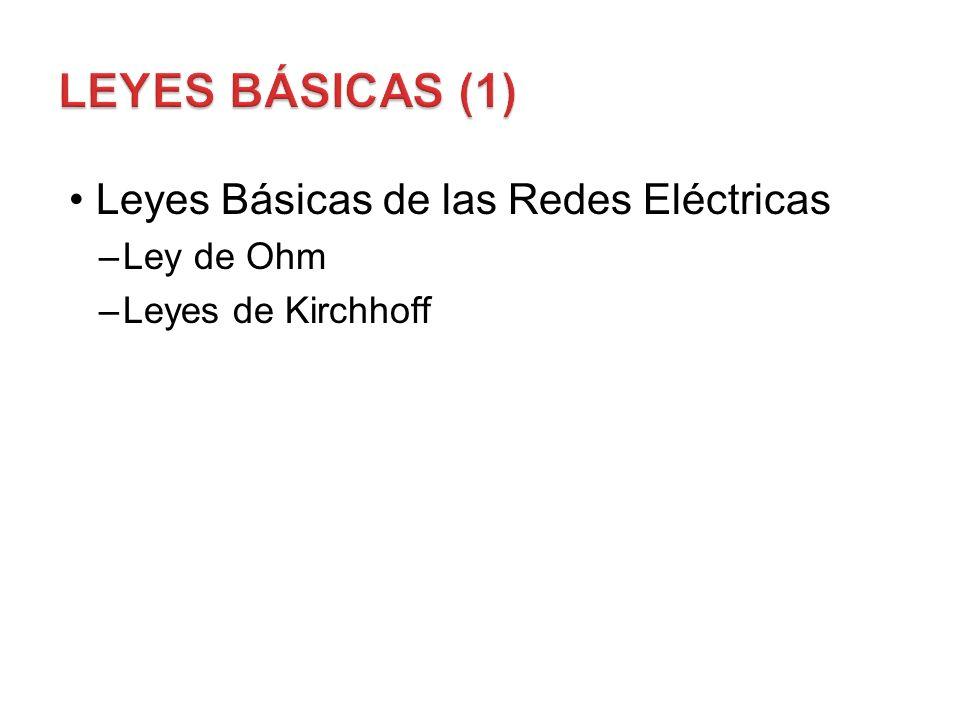 Leyes Básicas de las Redes Eléctricas –Ley de Ohm –Leyes de Kirchhoff