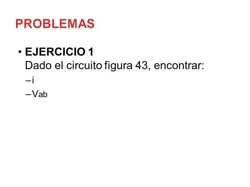 EJERCICIO 1 Dado el circuito figura 43, encontrar: –i –V ab