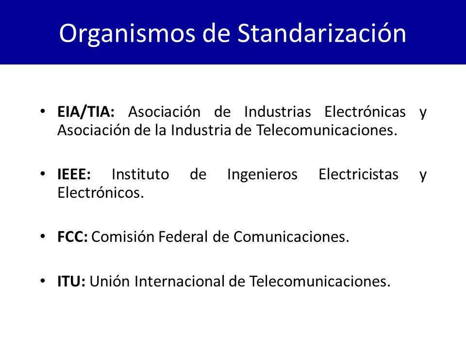 Organismos de Standarización EIA/TIA: Asociación de Industrias Electrónicas y Asociación de la Industria de Telecomunicaciones. IEEE: Instituto de Ing