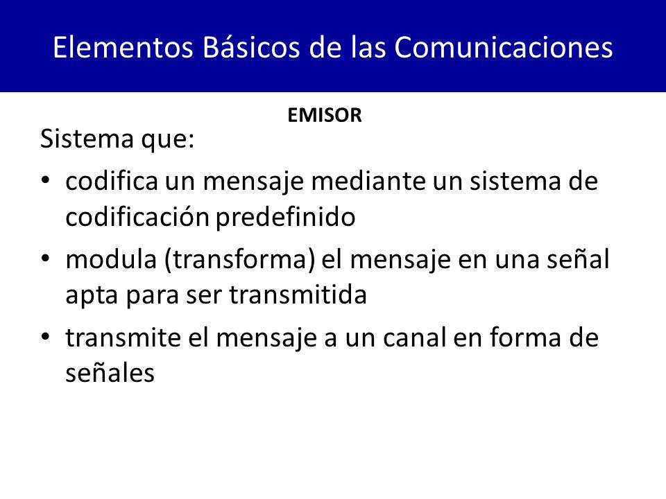 Elementos Básicos de las Comunicaciones Sistema que: codifica un mensaje mediante un sistema de codificación predefinido modula (transforma) el mensaj