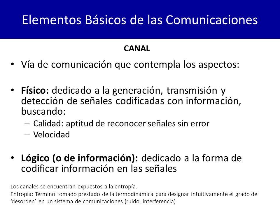 Elementos Básicos de las Comunicaciones CANAL Vía de comunicación que contempla los aspectos: Físico: dedicado a la generación, transmisión y detecció