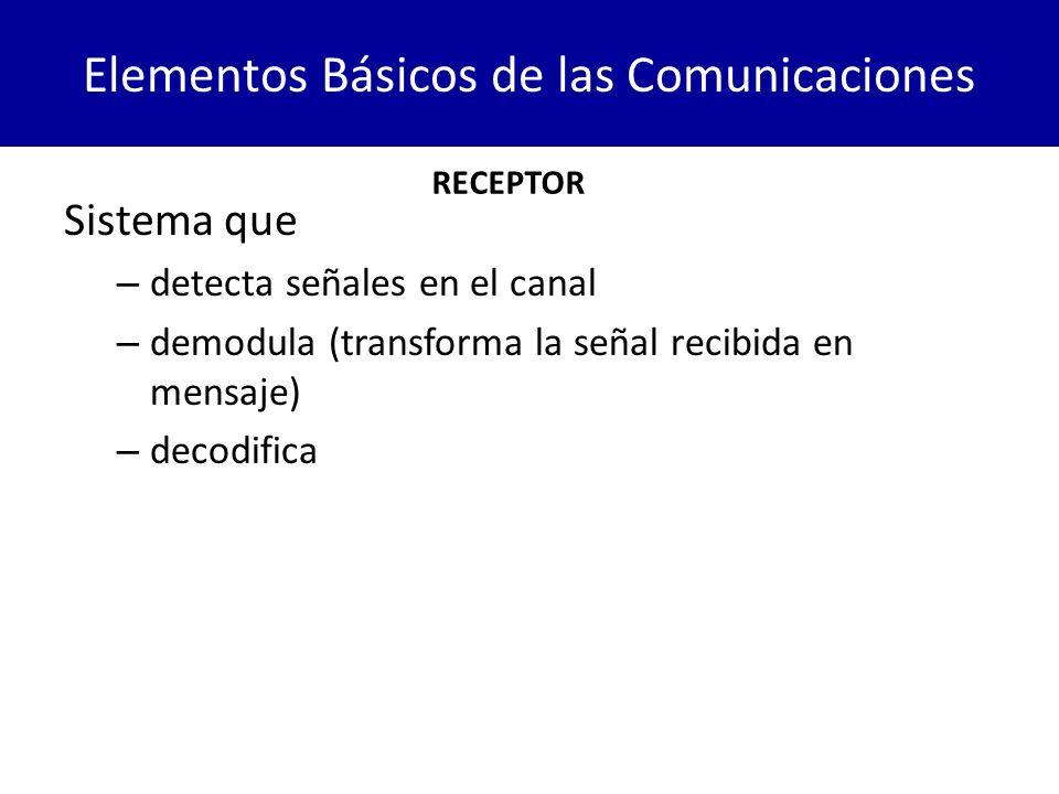 Elementos Básicos de las Comunicaciones Sistema que – detecta señales en el canal – demodula (transforma la señal recibida en mensaje) – decodifica RE