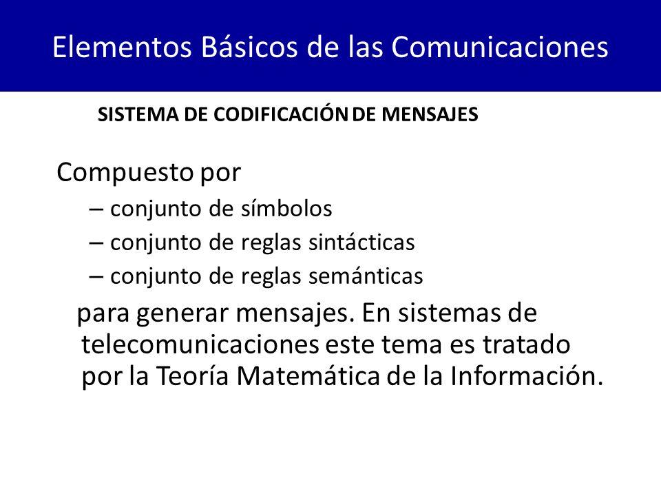 Elementos Básicos de las Comunicaciones Compuesto por – conjunto de símbolos – conjunto de reglas sintácticas – conjunto de reglas semánticas para gen