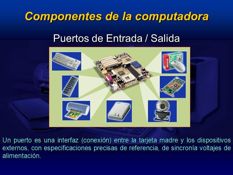 Un puerto es una interfaz (conexión) entre la tarjeta madre y los dispositivos externos, con especificaciones precisas de referencia, de sincronía vol
