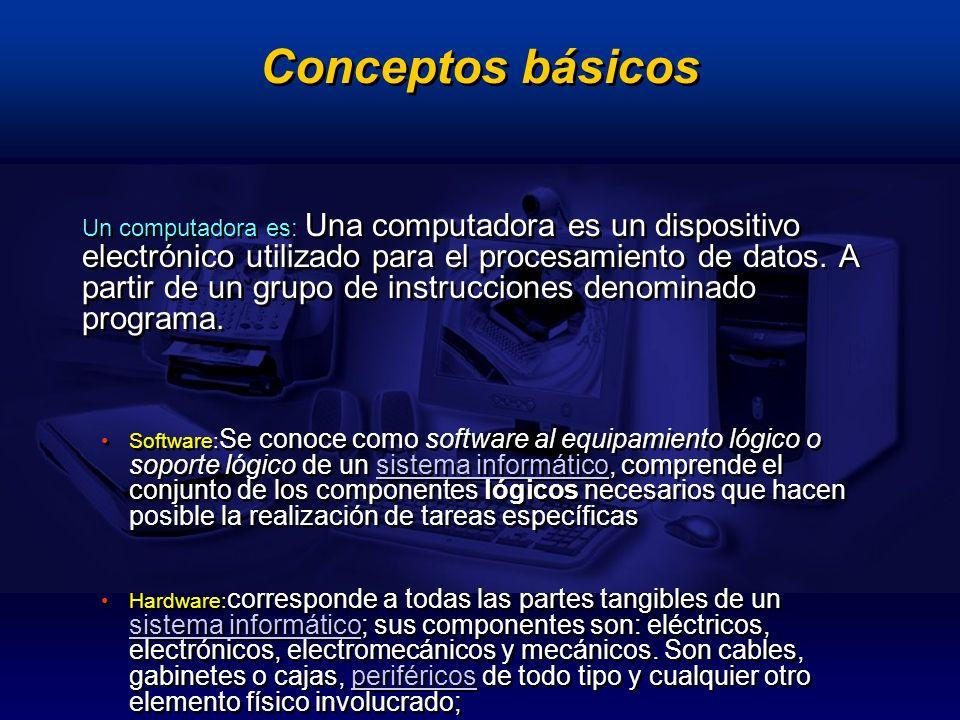 Conceptos básicos Un computadora es: Una computadora es un dispositivo electrónico utilizado para el procesamiento de datos. A partir de un grupo de i