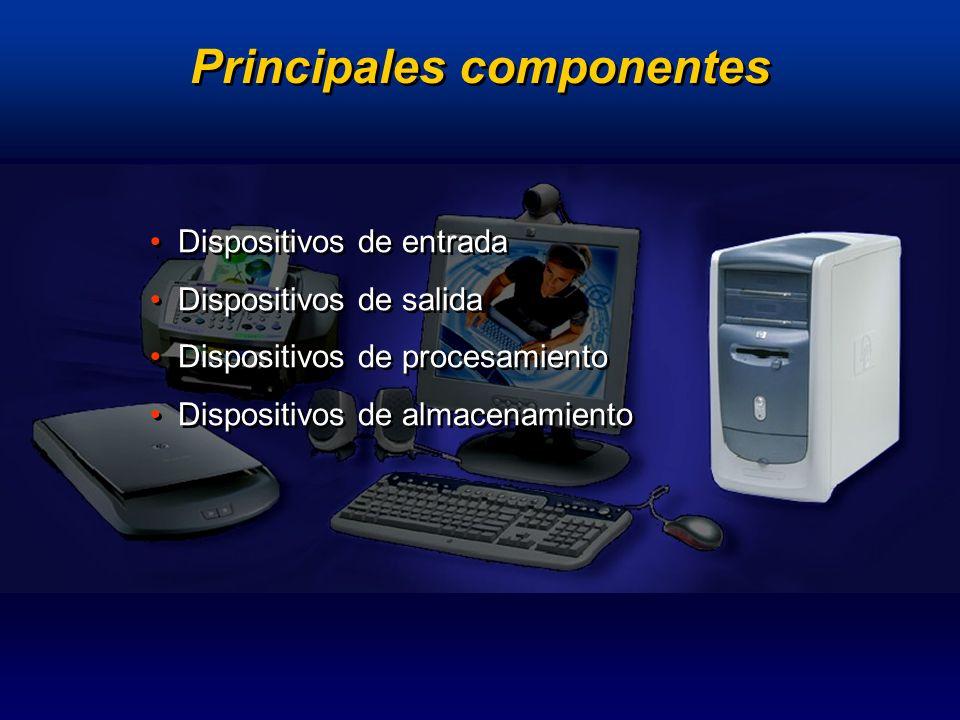 Principales componentes Dispositivos de entrada Dispositivos de salida Dispositivos de procesamiento Dispositivos de almacenamiento Dispositivos de en