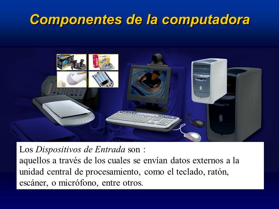 Componentes de la computadora Los dispositivos de Salida son: Los Dispositivos de Salida son aquellos que reciben los datos procesados por la computadora y permiten exteriorizarlos a través de periféricos como el monitor, impresora, escáner, plotter, altavoces, etc.