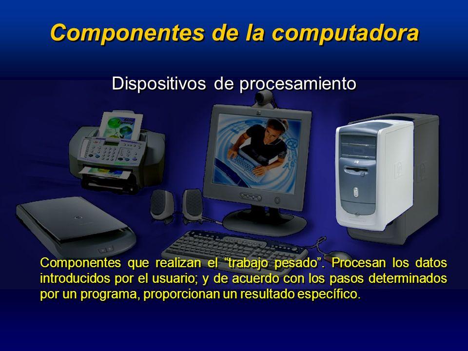 Dispositivos de procesamiento Memoria : RAM / ROM Microprocesador Tarjeta de video (integradas / adicionales) Tarjeta de sonido (integradas / adicionales) Tarjeta de video (integradas / adicionales) Tarjeta de sonido (integradas / adicionales) Tarjeta Madre Componentes de la computadora