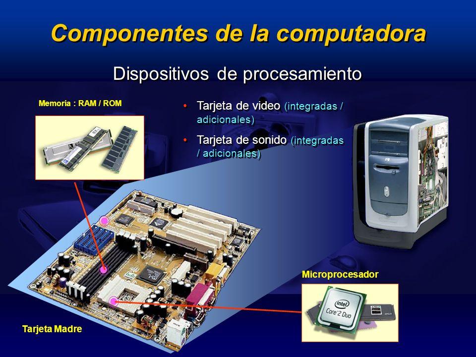 Dispositivos de procesamiento Memoria : RAM / ROM Microprocesador Tarjeta de video (integradas / adicionales) Tarjeta de sonido (integradas / adiciona