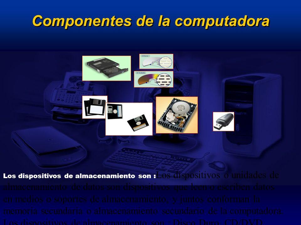 Los dispositivos de almacenamiento son : Los dispositivos o unidades de almacenamiento de datos son dispositivos que leen o escriben datos en medios o