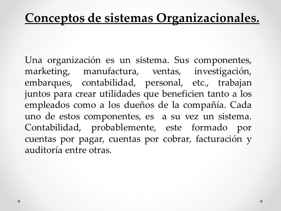 Conceptos de sistemas Organizacionales. Una organización es un sistema. Sus componentes, marketing, manufactura, ventas, investigación, embarques, con