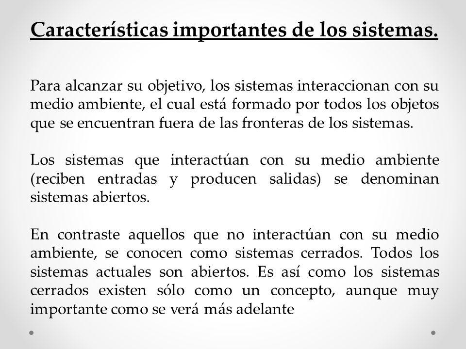 Características importantes de los sistemas. Para alcanzar su objetivo, los sistemas interaccionan con su medio ambiente, el cual está formado por tod