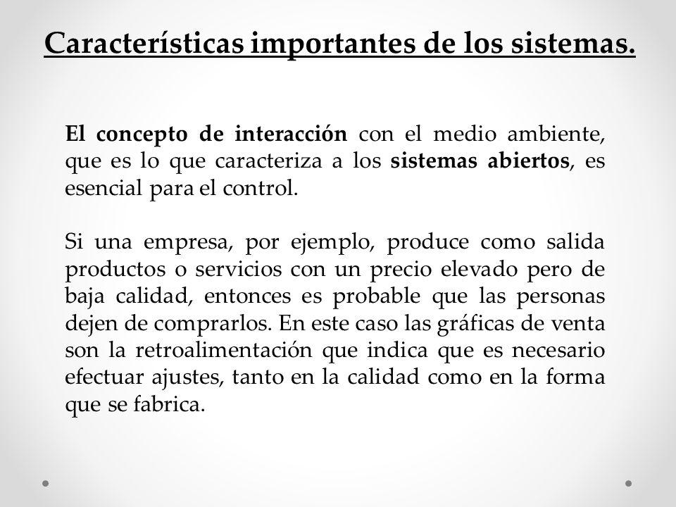 Características importantes de los sistemas. El concepto de interacción con el medio ambiente, que es lo que caracteriza a los sistemas abiertos, es e
