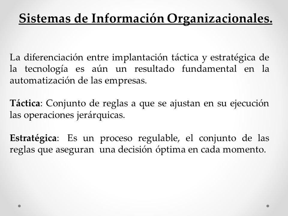 Sistemas de Información Organizacionales. La diferenciación entre implantación táctica y estratégica de la tecnología es aún un resultado fundamental