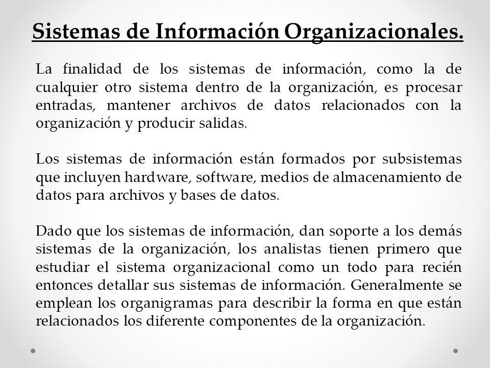 La finalidad de los sistemas de información, como la de cualquier otro sistema dentro de la organización, es procesar entradas, mantener archivos de d