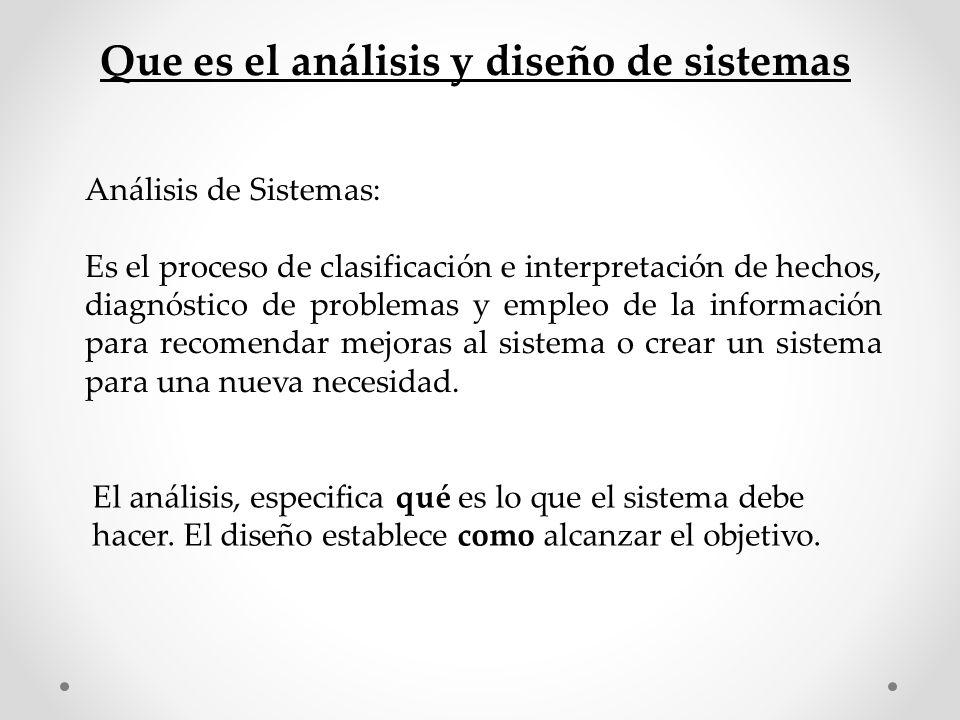Análisis de Sistemas: Es el proceso de clasificación e interpretación de hechos, diagnóstico de problemas y empleo de la información para recomendar m