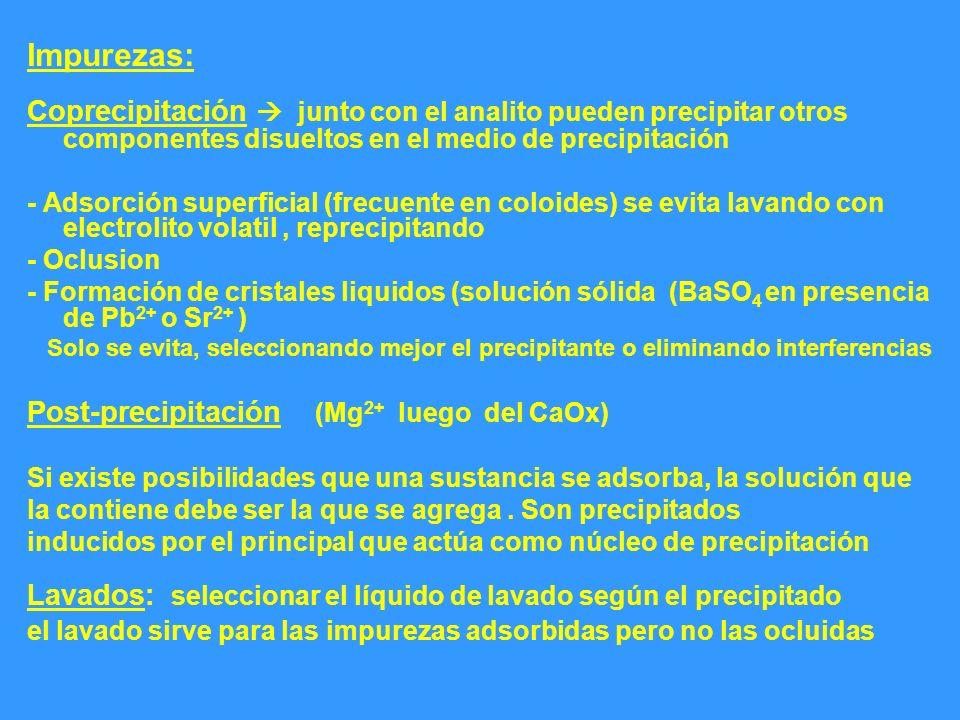 Impurezas: Coprecipitación junto con el analito pueden precipitar otros componentes disueltos en el medio de precipitación - Adsorción superficial (fr