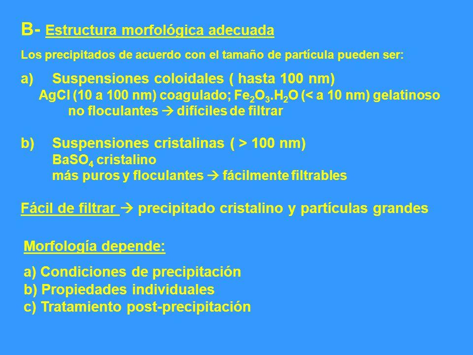 B- Estructura morfológica adecuada Los precipitados de acuerdo con el tamaño de partícula pueden ser: a)Suspensiones coloidales ( hasta 100 nm) AgCl (