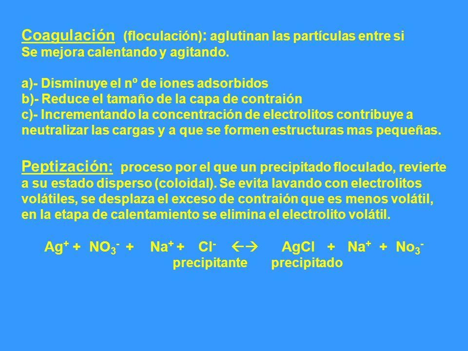 Coagulación (floculación) : aglutinan las partículas entre si Se mejora calentando y agitando. a)- Disminuye el nº de iones adsorbidos b)- Reduce el t