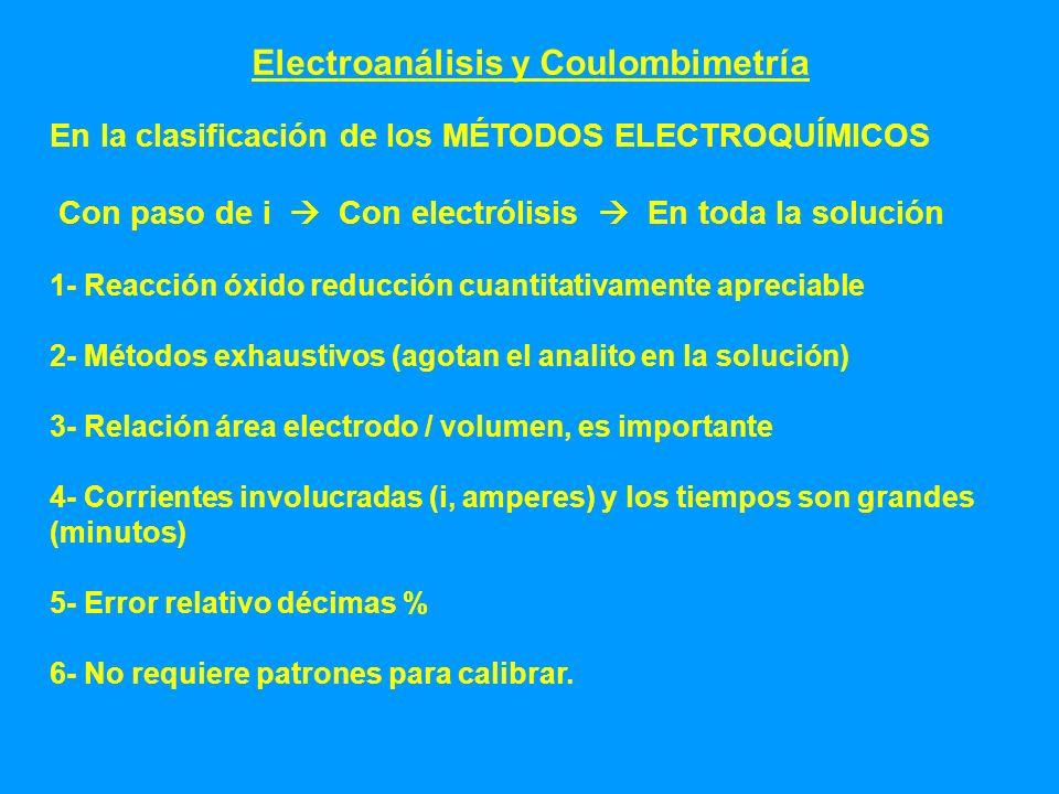 Electroanálisis y Coulombimetría En la clasificación de los MÉTODOS ELECTROQUÍMICOS Con paso de i Con electrólisis En toda la solución 1- Reacción óxi