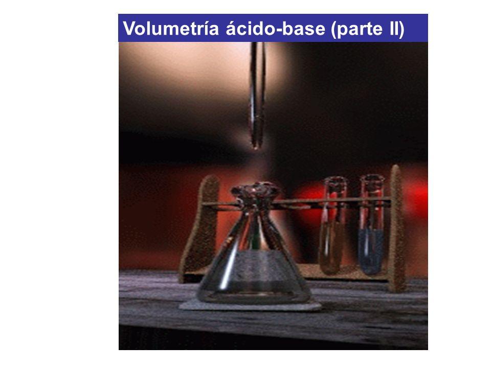 exceso de base (10 mL) [OH - ] = C OH V exc /V T pH = 12.15 Volumen agregado: 40 mL Volumen agregado: 50 mL Valoración de H 2 SO 3 SO 3 2- + H 2 O SO 3 H - + OH - [OH - ] = Kb C i /3 pH = 9.76 Se detecta el 2do PE
