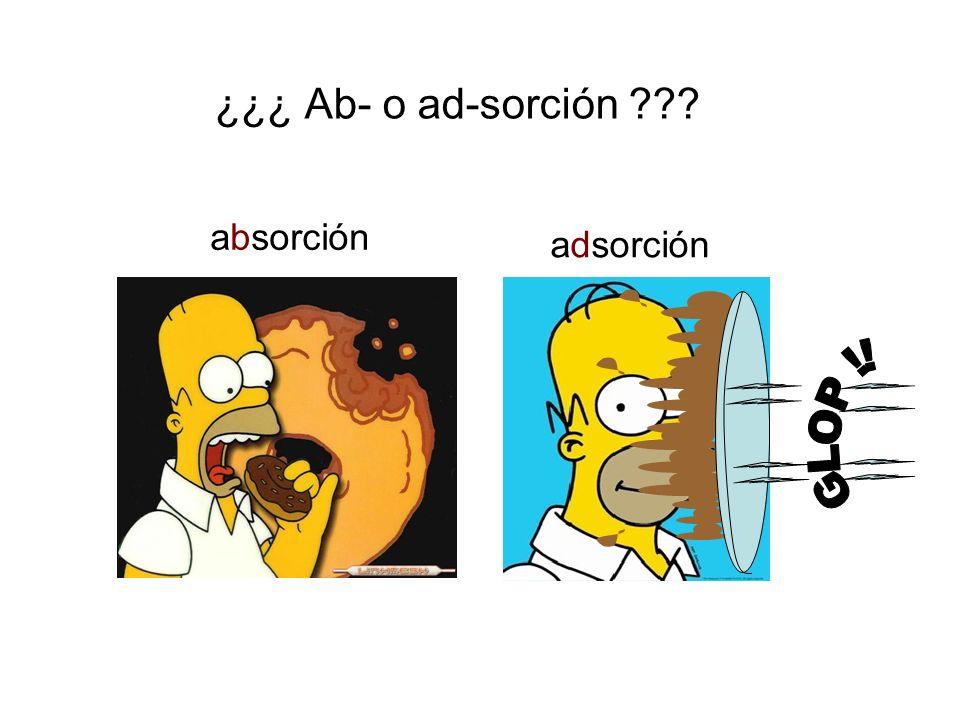 ¿¿¿ Ab- o ad-sorción ??? absorción adsorción