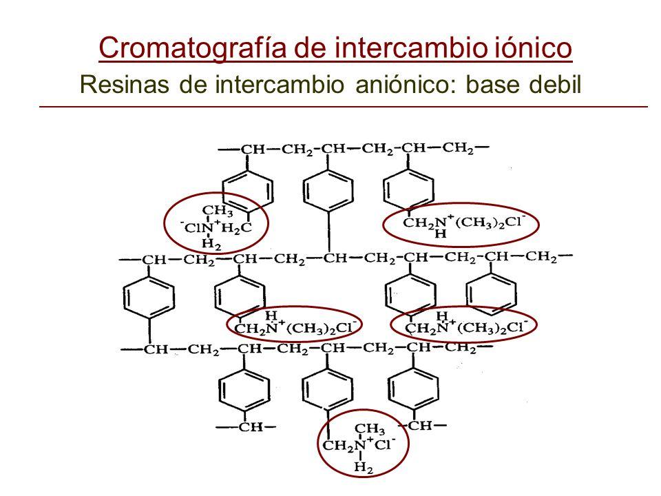 Resinas de intercambio aniónico: base debil Cromatografía de intercambio iónico