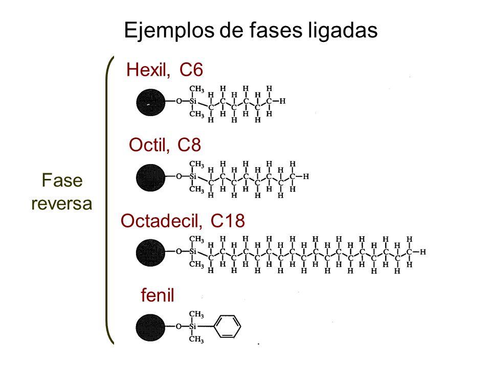 Ejemplos de fases ligadas Fase reversa Hexil, C6 Octil, C8 Octadecil, C18 fenil