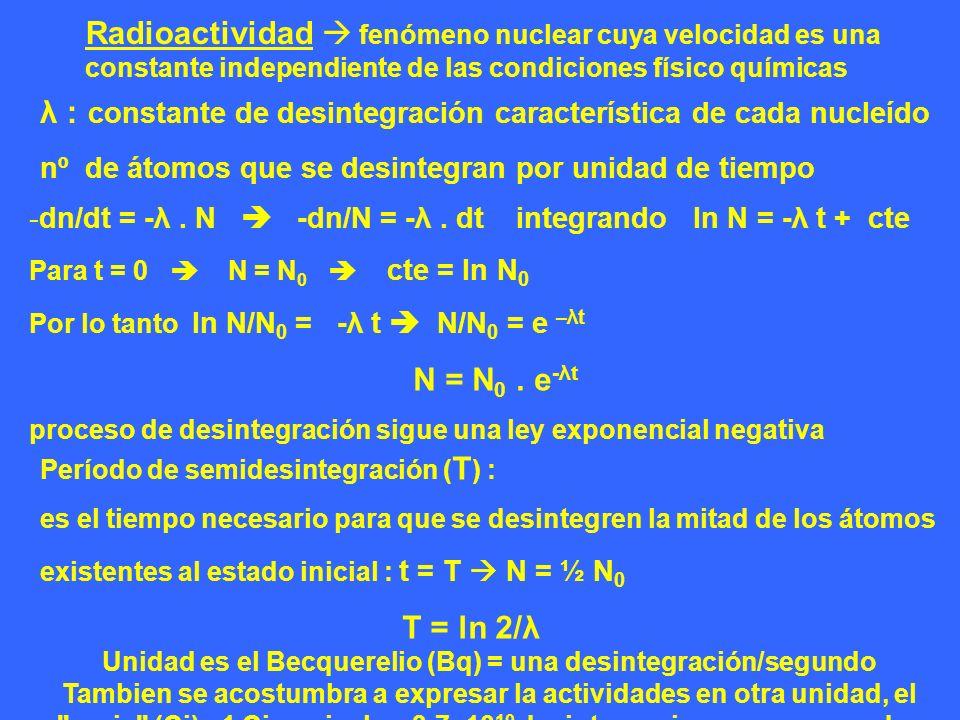 Radioactividad fenómeno nuclear cuya velocidad es una constante independiente de las condiciones físico químicas λ : constante de desintegración carac