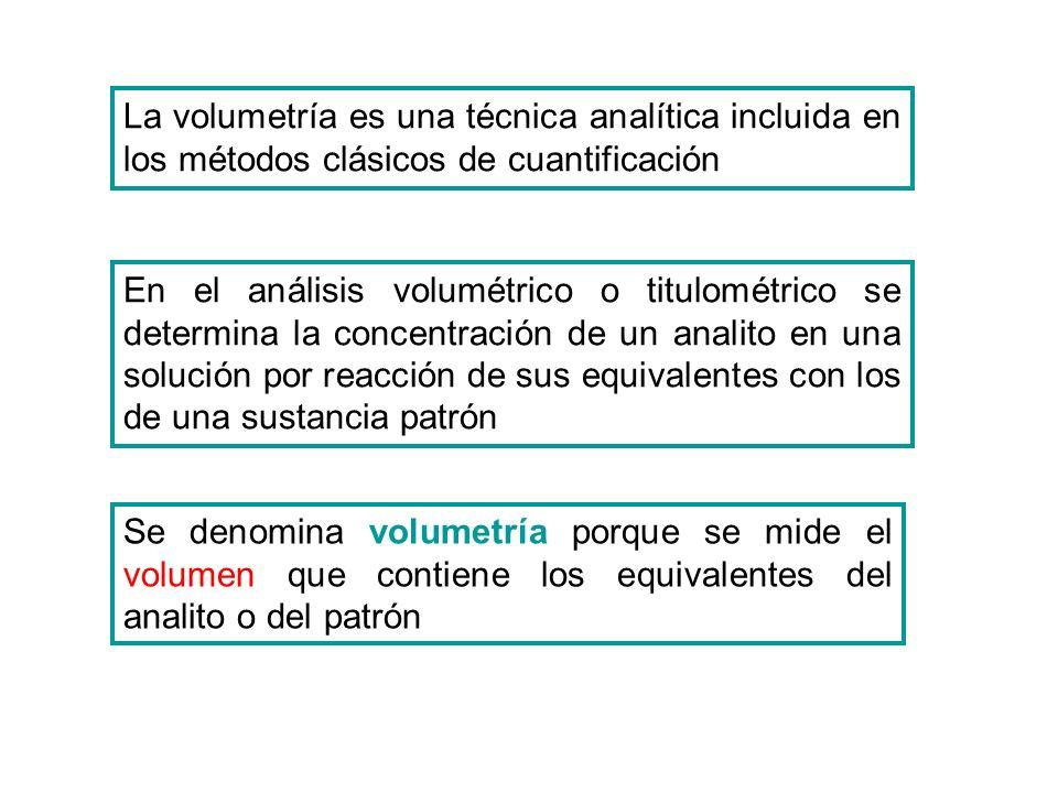 En el análisis volumétrico o titulométrico se determina la concentración de un analito en una solución por reacción de sus equivalentes con los de una