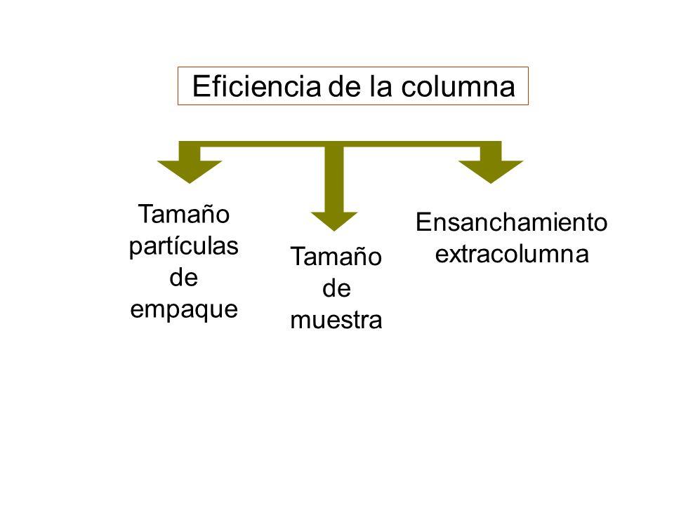Ensanchamiento extracolumna Eficiencia de la columna Tamaño partículas de empaque Tamaño de muestra