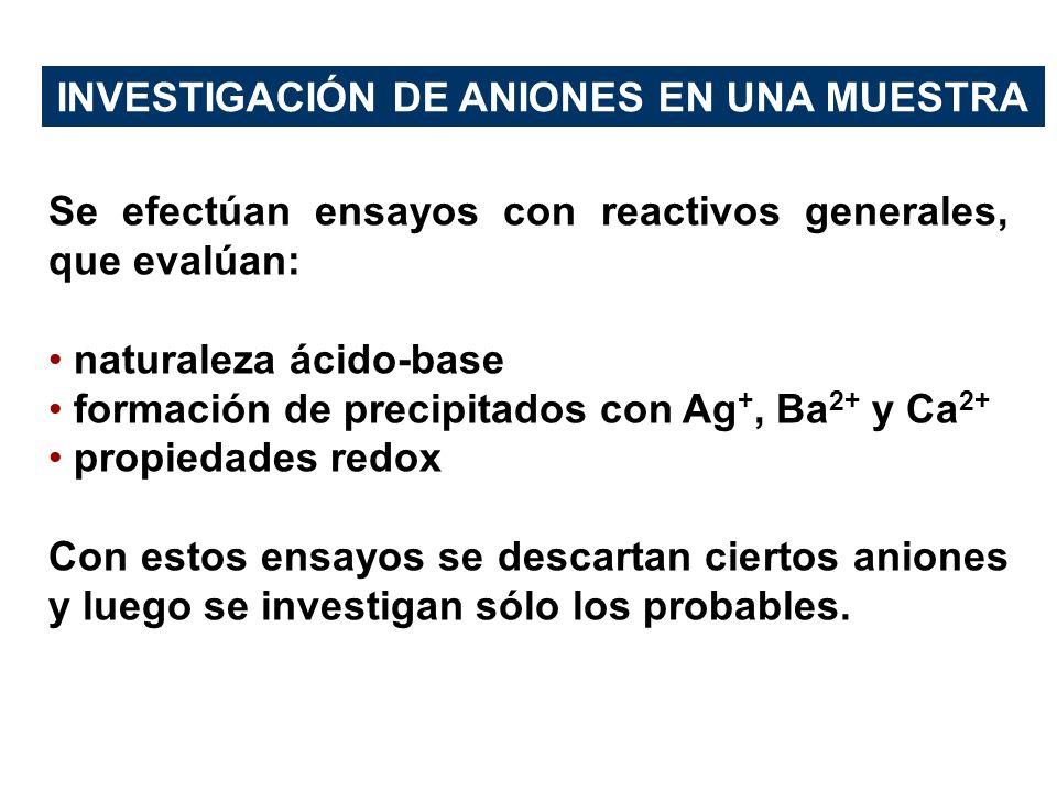 Se efectúan ensayos con reactivos generales, que evalúan: naturaleza ácido-base formación de precipitados con Ag +, Ba 2+ y Ca 2+ propiedades redox Co