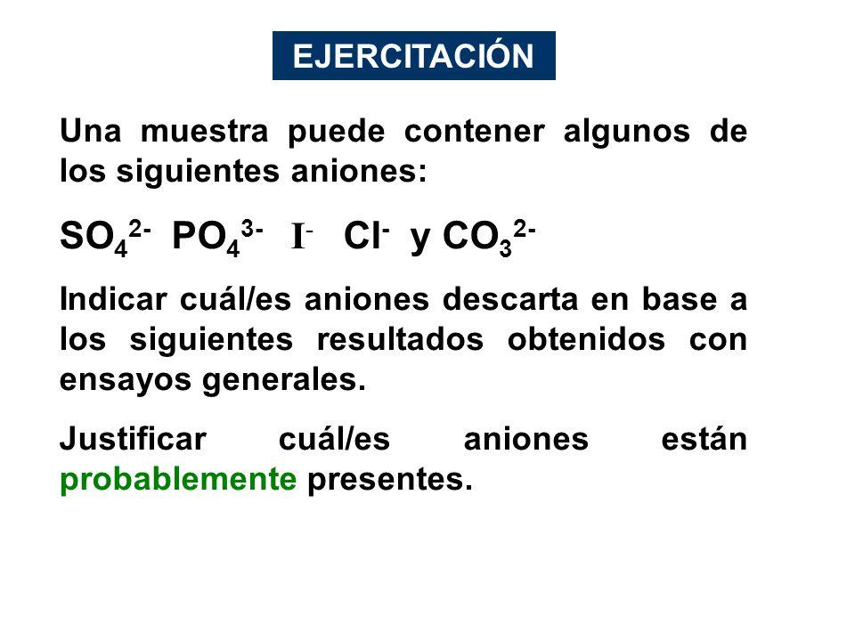 Una muestra puede contener algunos de los siguientes aniones: SO 4 2- PO 4 3- I - Cl - y CO 3 2- Indicar cuál/es aniones descarta en base a los siguie