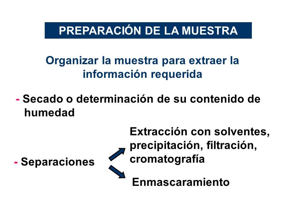 PREPARACIÓN DE LA MUESTRA Organizar la muestra para extraer la información requerida - Secado o determinación de su contenido de humedad - Separacione