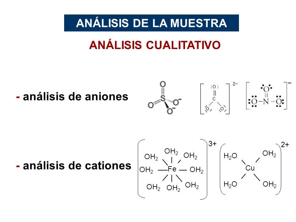 ANÁLISIS CUALITATIVO - análisis de aniones - análisis de cationes ANÁLISIS DE LA MUESTRA OH 2 Fe 3+ OH 2 H2OH2O Cu 2+ H2OH2O OH 2