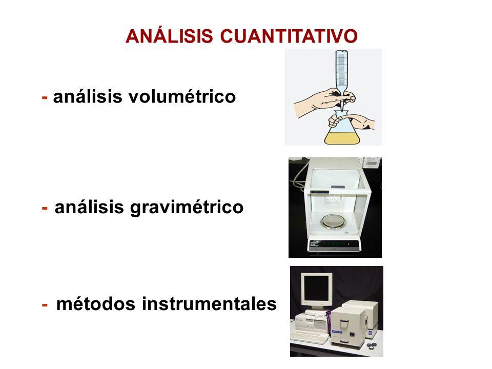 ANÁLISIS CUANTITATIVO - análisis volumétrico - análisis gravimétrico - métodos instrumentales