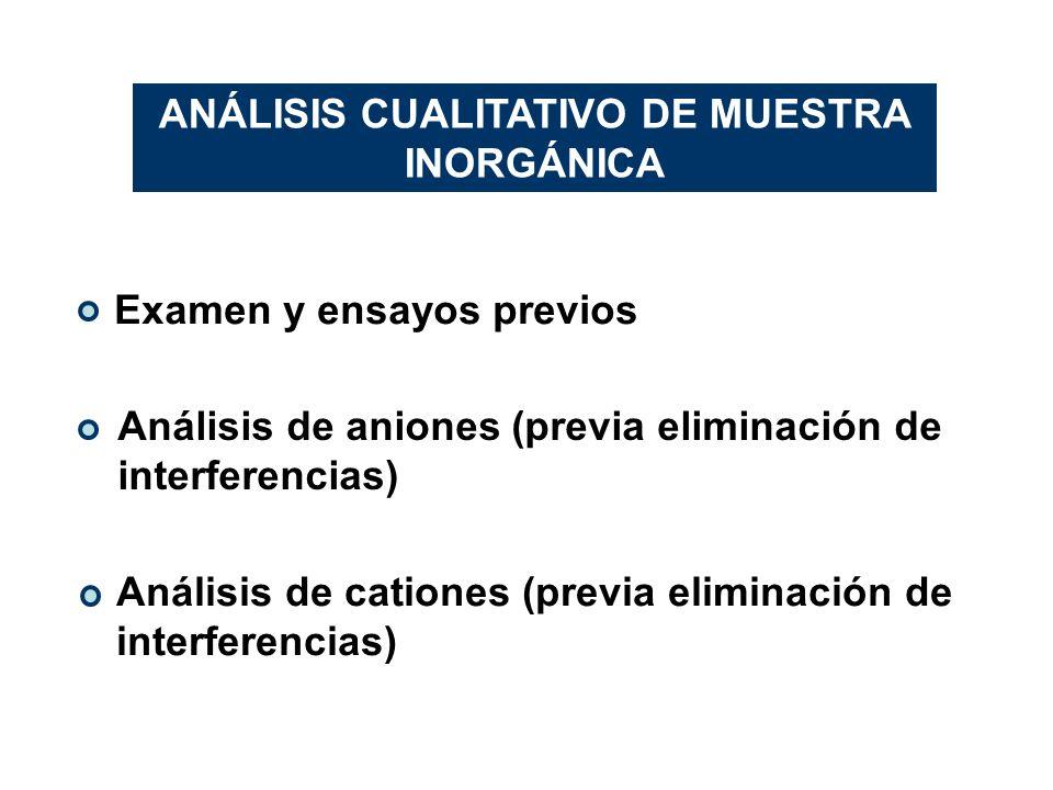 ANÁLISIS CUALITATIVO DE MUESTRA INORGÁNICA Examen y ensayos previos Análisis de aniones (previa eliminación de interferencias) Análisis de cationes (p