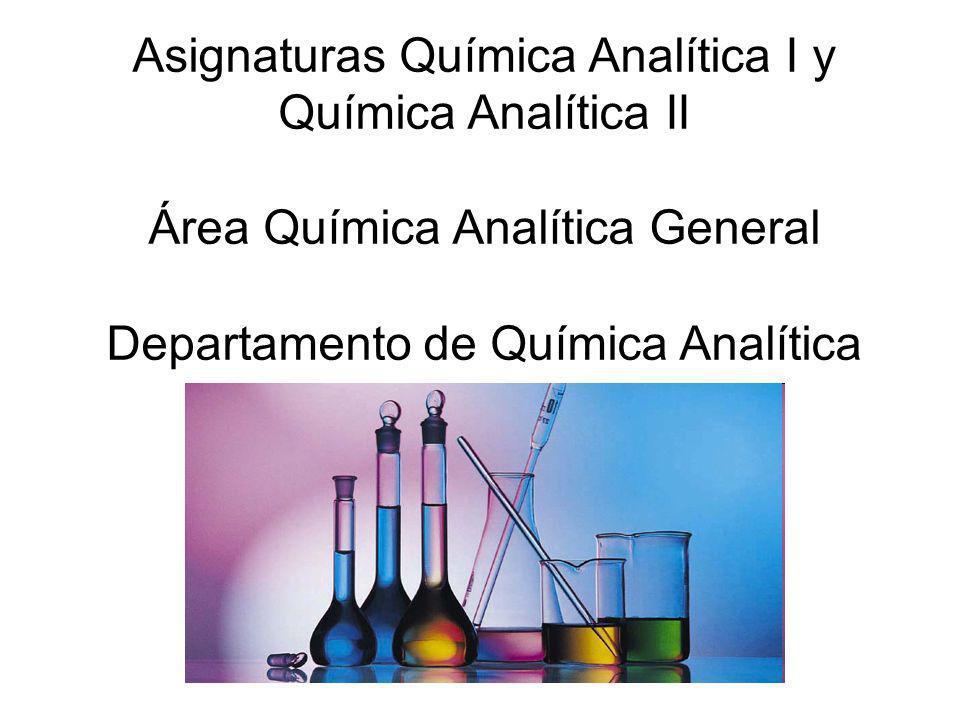 Asignaturas Química Analítica I y Química Analítica II Área Química Analítica General Departamento de Química Analítica