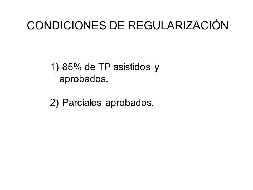 CONDICIONES DE REGULARIZACIÓN 1) 85% de TP asistidos y aprobados. 2) Parciales aprobados.