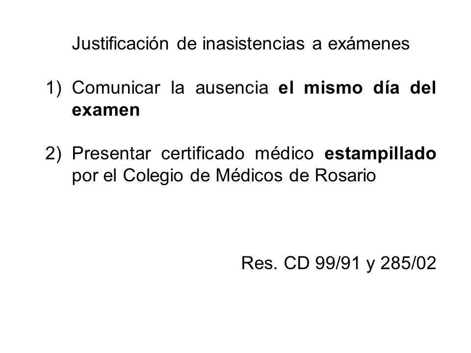 Justificación de inasistencias a exámenes 1)Comunicar la ausencia el mismo día del examen 2)Presentar certificado médico estampillado por el Colegio d