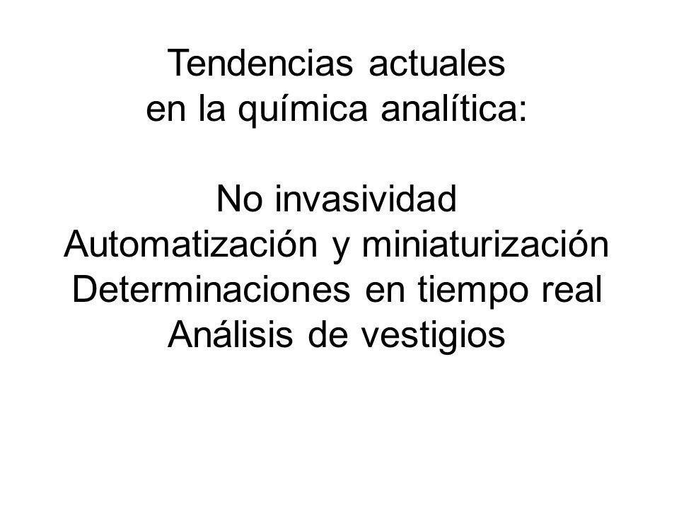 Tendencias actuales en la química analítica: No invasividad Automatización y miniaturización Determinaciones en tiempo real Análisis de vestigios