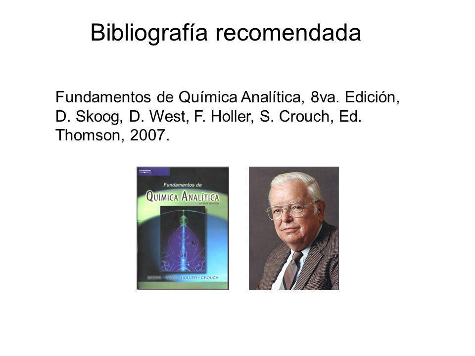 Fundamentos de Química Analítica, 8va. Edición, D. Skoog, D. West, F. Holler, S. Crouch, Ed. Thomson, 2007. Bibliografía recomendada