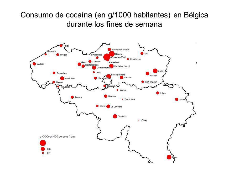 Consumo de cocaína (en g/1000 habitantes) en Bélgica durante los fines de semana
