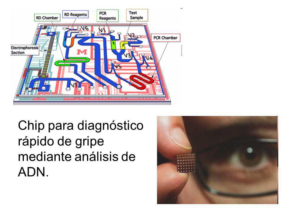 Chip para diagnóstico rápido de gripe mediante análisis de ADN.