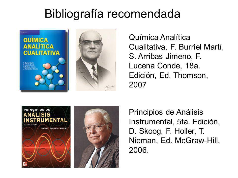 Principios de Análisis Instrumental, 5ta. Edición, D. Skoog, F. Holler, T. Nieman, Ed. McGraw-Hill, 2006. Bibliografía recomendada Química Analítica C